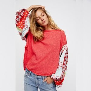 Free People Blossom Thermal Balloon Sleeve Top PS